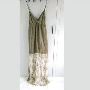 Gypsy 05 Dress Green Tie Dye Maxi Silk Size Large